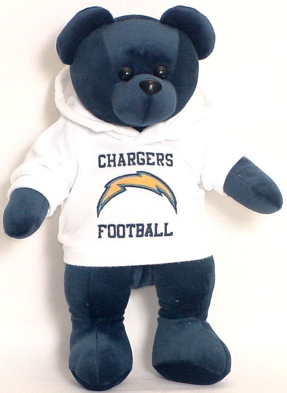 "SAN DIEGO CHARGERS 14"" PLUSH HOODIE TEDDY BEAR NEW NFL"