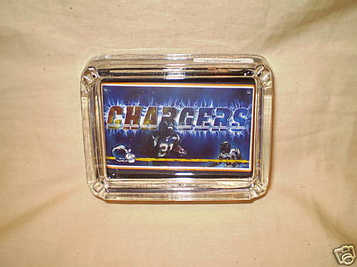 SAN DIEGO CHARGERS ASHTRAY GLASS NFL FOOTBALL