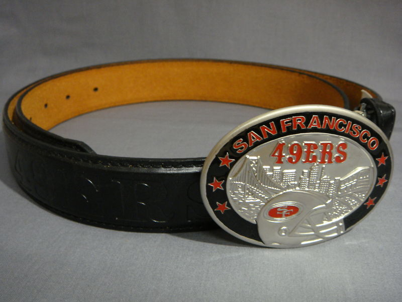 SAN FRANCISCO 49ERS BELT BUCKLE & LEATHER BELT SML 3'2""