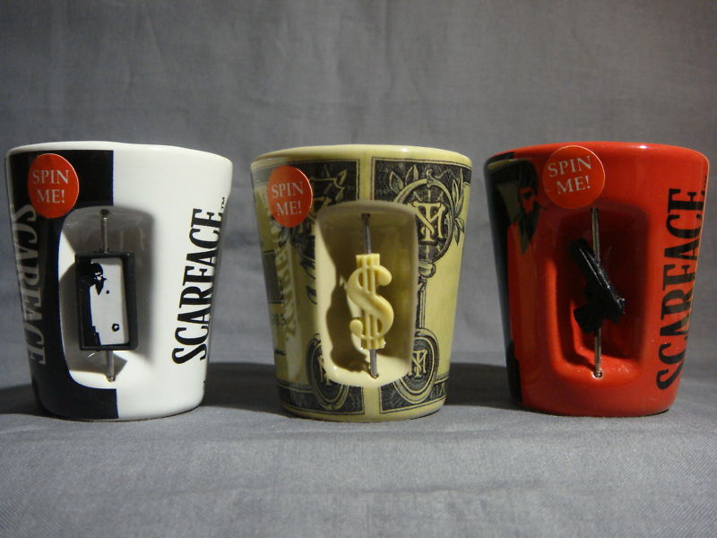 SCARFACE TONY MONTANA SPINNER SHOT GLASS SET OF 3 NEW