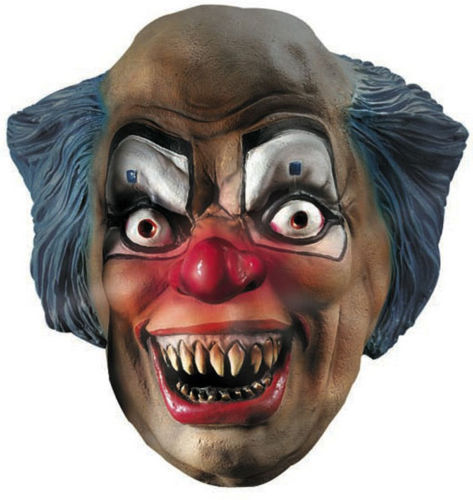 SCARY CLOWN MASK LIGHT UP NOSE NEW ADULT SIZE RUBIES