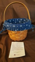 Longaberger 1996 Small Size Round Fruit Apple Basket Traditional Blue Liner - $18.00