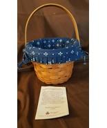 Longaberger 1996 Small Size Round Fruit Apple Basket Traditional Blue Liner - $18.00