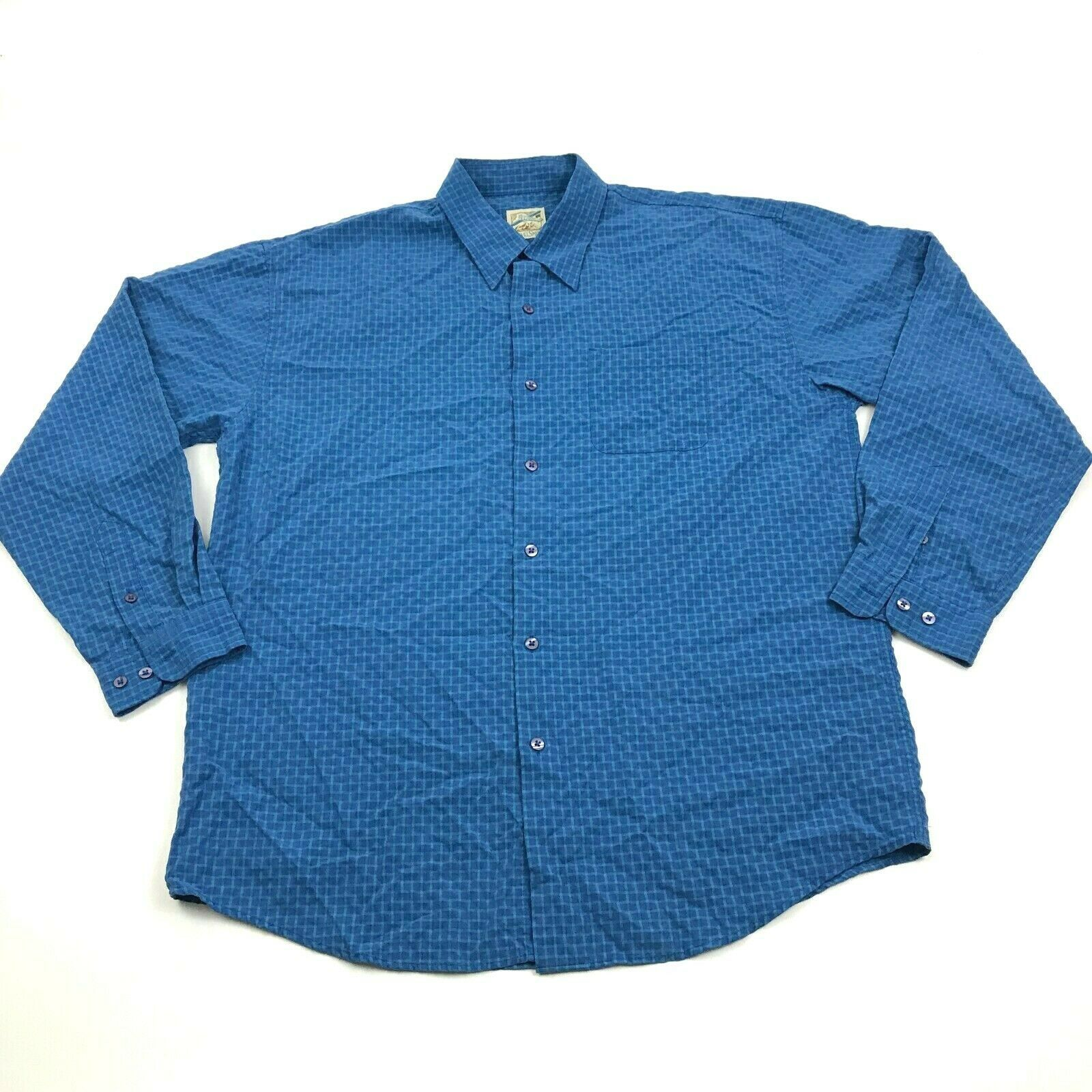 Primary image for Vintage TravelSmith Button Up Shirt Size L Large Men's Blue Check Long Sleeve