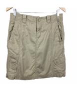 Eddie Bauer Khaki Skirt 4 Cargo Pockets 100% Cotton Knee Length Belt Loo... - $19.24
