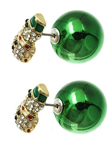 Bling Crystals Snowman Christmas Double Sided Ball Earrings (Green)