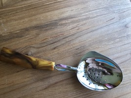 Vintage Serving Spoon w/ Drain Holes Serrated Edge Bakelite Marbled Handle - $11.29