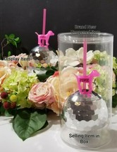 1 New Victoria's Secret PINK Dog Limited Edition Disco Ball Cup w/Straw ... - $24.70