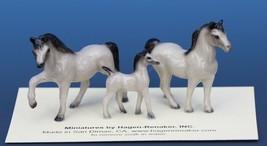 Hagen Renaker Miniature Horse Tiny Gray Family Mare Stallion Colt 3 Piece Set image 1