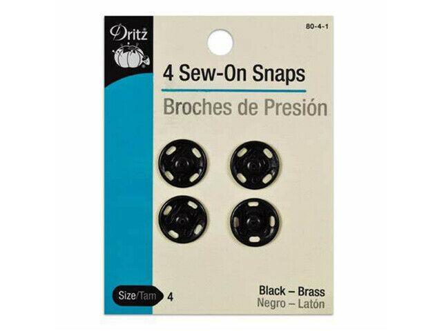 Dritz Sew On Snaps, Black, Set of 4 #80-4-1