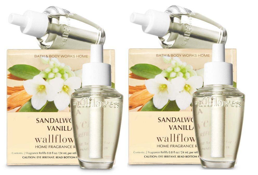 Lot of 4 Bath & Body Works Sandalwood Vanilla Wallflower Home Fragrance Bulbs