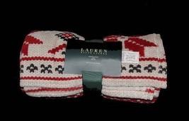 Ralph Lauren POINSETTIA Plush Fleece Sweater-Like Throw Blanket Deep Col... - $44.99
