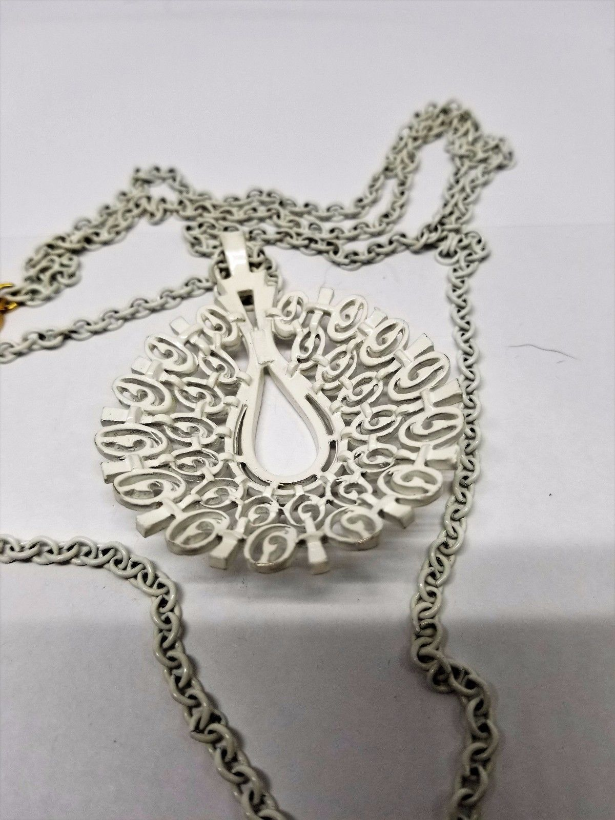 Crown Trifari White Enamel Double Chain Pendant Necklace