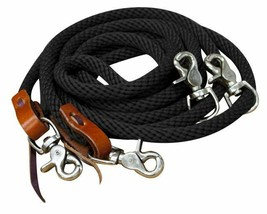 ENGLISH OR WESTERN BRAIDED BLACK NYLON DRAW REINS FOR HORSE TRAINING - $19.80