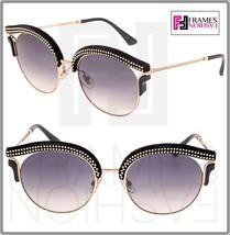 Jimmy Choo Lash Gold Black Suede Leather Glitter Stud Metal Sunglasses LASH/S - $287.10