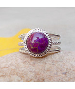 Purple Turquoise Ring Purple Turquoise 925 Silver Ring Turquoise Boho Ri... - $36.75