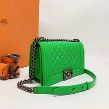 SALE*** Authentic Chanel Boy Medium Patent Green Flap Bag with RECEIPT  image 2