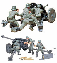 2 Tamiya German Anti-Tank Gun Models - 75 mm PAK 40/L46 and 37 mm PAK 35... - $31.67