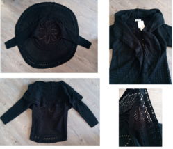 AcCOLD WEATHER KNITTED SWEATER BLACK LONG SLEEVE UNIQUE PETITES PM 100% ACRYLIC - $49.99