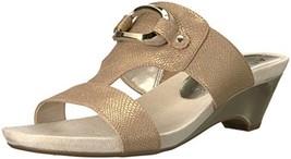 Anne Klein Women's Teela Wedge Sandal, Light Bronze Synthetic, 7.5 M US - $38.28