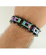 Men's Stainless Steel Black & Iridescent Bike Chain Bracelet Biker Jewelry - $26.95
