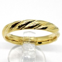 18K YELLOW GOLD BAND BRAIDED RING, BRAID WOVEN, SMOOTH, MADE IN ITALY image 1