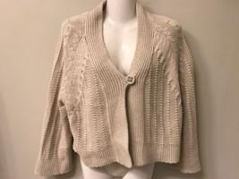 Cabi Beige Cardigan Sweater Style #918 Sz S Oatmeal Single Button Open F... - $12.38