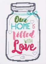Mason Jar Cross Stitch Kit Our Home is Filled with Love NIP 5 x 7 New in Package - $5.62