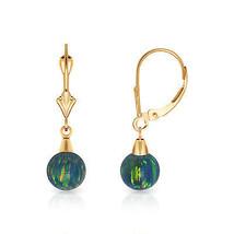 7 mm Ball Shaped Blue Green Fire Opal Leverback Dangle Earrings 14K Yellow Gold - $81.88