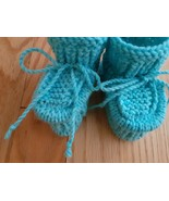 Knitted baby booties,baby shoes, baby socks, size 3-6 months, blue color  - $10.55 CAD