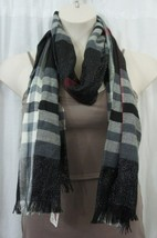 V Fraas Scarf Sz One Size Black Silver Red Multi Fringe Glen Plaid Casua... - $24.18