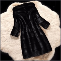 Full Plus Sized Unisex Hooded Long Black Sleek Imitation Mink Faux Fur  image 3