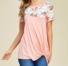 Coral Floral Top, Twisted Knotted Front, Cap Sleeve, Floral Colorblock, USA Made