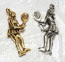 FEMALE TENNIS PLAYER FINE PEWTER PENDANT CHARM - 11mm L x 24mm W x 5mm D