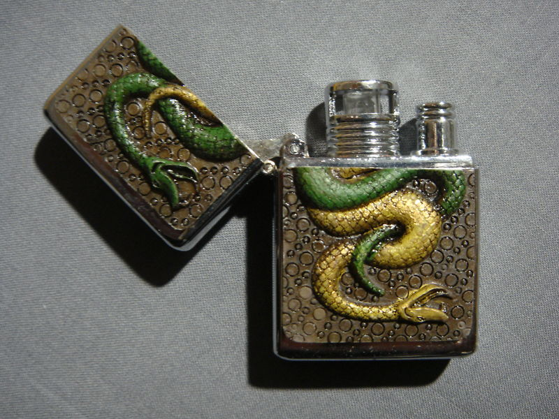 SERPENT SNAKE RAISED COLOR LOGO TORCH LIGHTER NEW