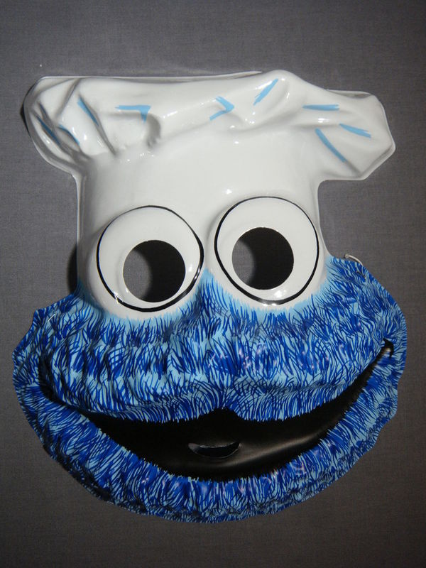SESAME STREET COOKIE MONSTER HALLOWEEN MASK PVC NEW