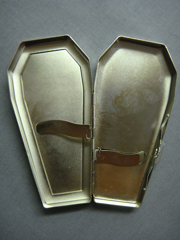 SILVER COFFIN CIGARETTE CASE W/ RAISED SKULL LOGO