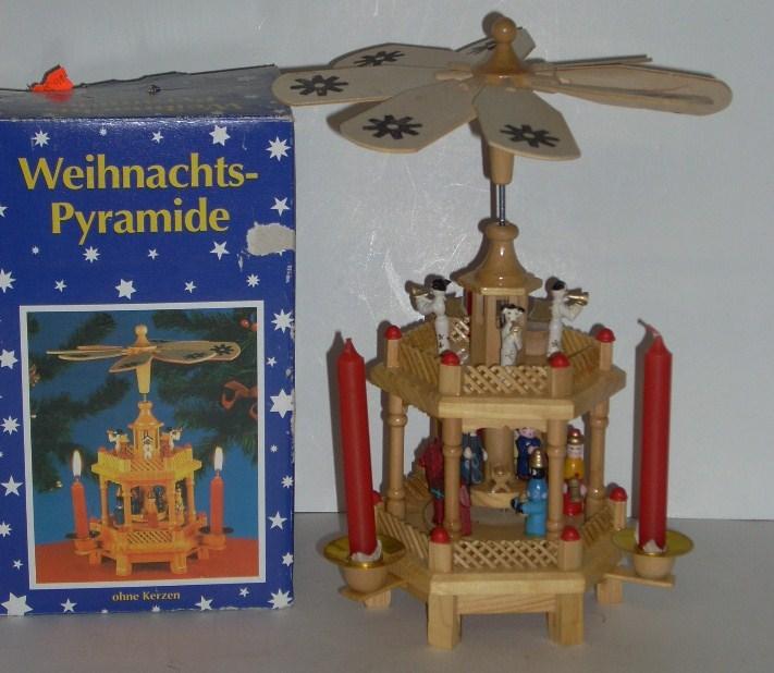 german christmas pyramid windmill nativity carousel 2 tier. Black Bedroom Furniture Sets. Home Design Ideas