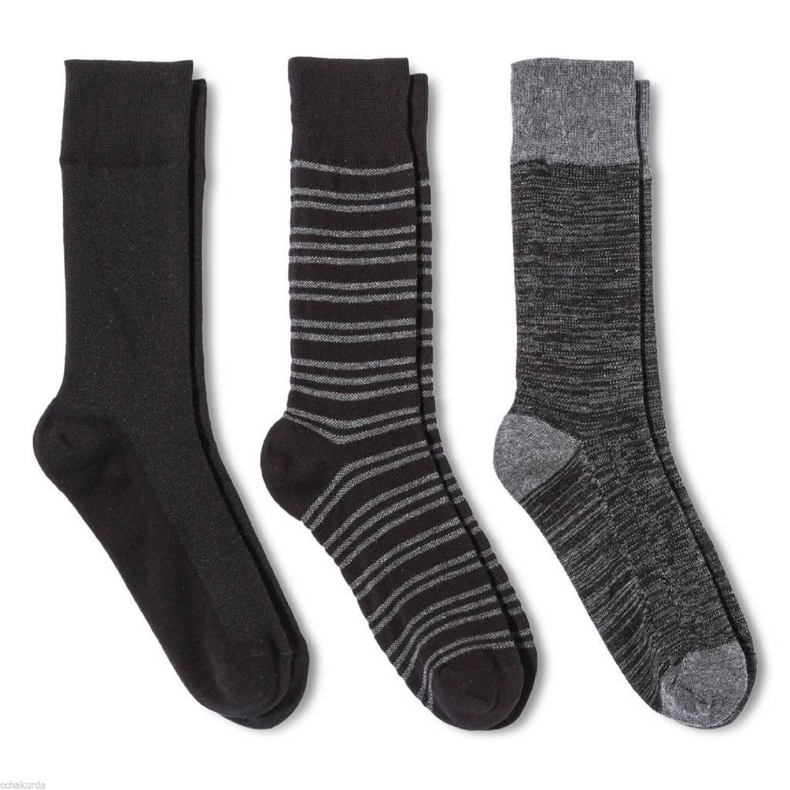 Merona NEW Mens 3 pair Dress Crew Socks 6 12 Gray Stripes Black Heather Solid