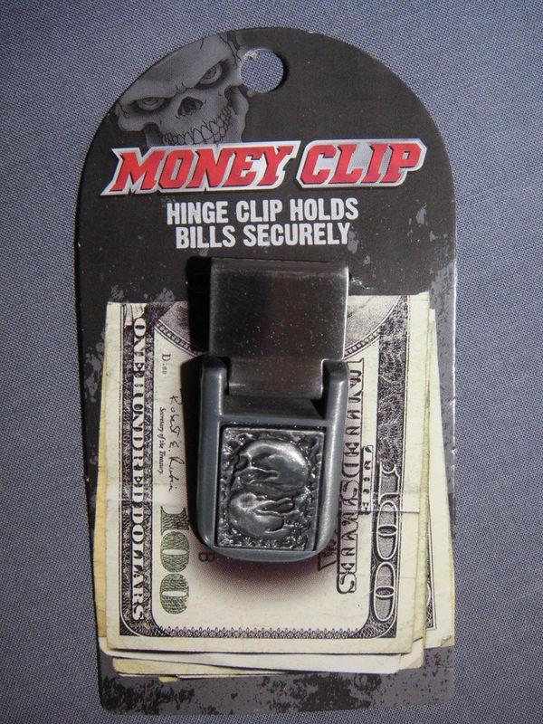 SKULL THEME HINGE MONEY CLIP / BILL HOLDER NEW - C