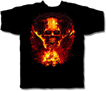 SKULL WINGS HALLOWEEN T-SHIRT NETHERWORLD TEE LARGE
