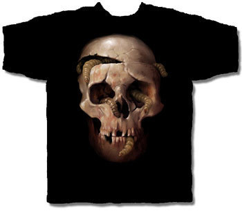 SKULL WORMS HALLOWEEN T-SHIRT NETHERWORLD TEE X-LARGE
