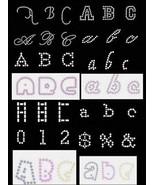 12 different  ALPHABETS Pattern CD Hot fix Rhinestones  Stencils - $23.95