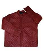 Men Red Leather Jackets Quilted Real Sheep Leather Jacket - $149.99