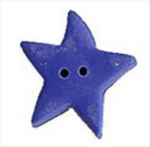 "Large Blue Jay Star 3311L handmade clay button .5"" JABC Just Another But... - $1.40"