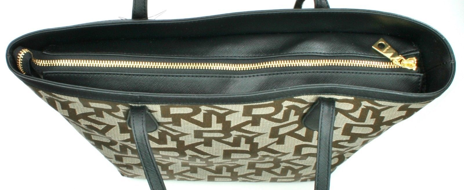DKNY Donna Karan Brown Logo Embossed Canvas Shopper Tote Bag Medium Handbag