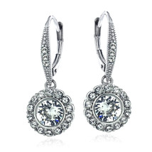 Silver Tone Swarovski Elements Round Halo Leverback Earrings - $25.11