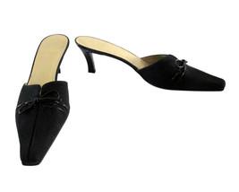 Stuart Weitzman Black Crepe Fabric Mules Shoes size 8 1/2 M NWT - $78.00