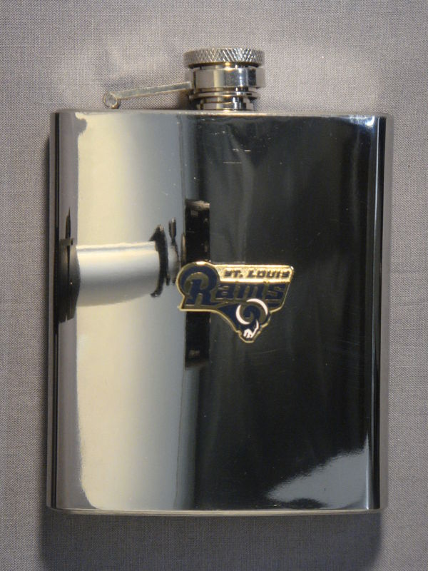 ST LOUIS RAMS 7oz STAINLESS STEEL FLASK NEW NFL