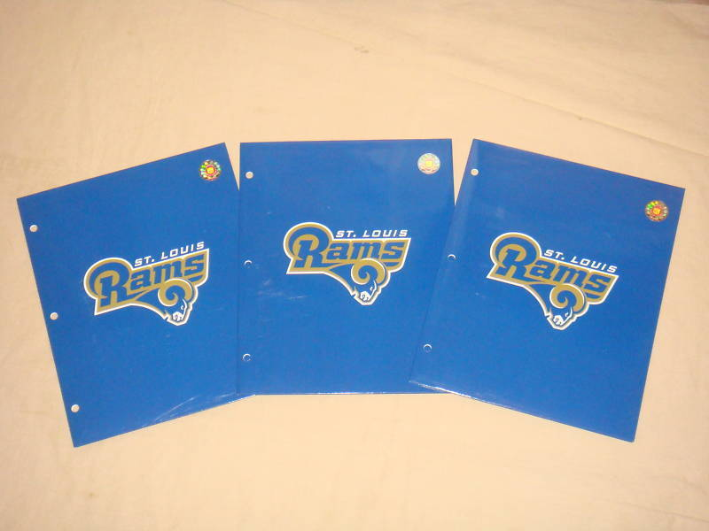 ST LOUIS RAMS FOLDERS / PORTFOLIOS SET OF 3 NFL NEW